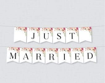 Printable Just Married Banner - Pink Flower Just Married Bunting - Rustic Flower Just Married Wedding Banner, Wedding Car Decorations 0004