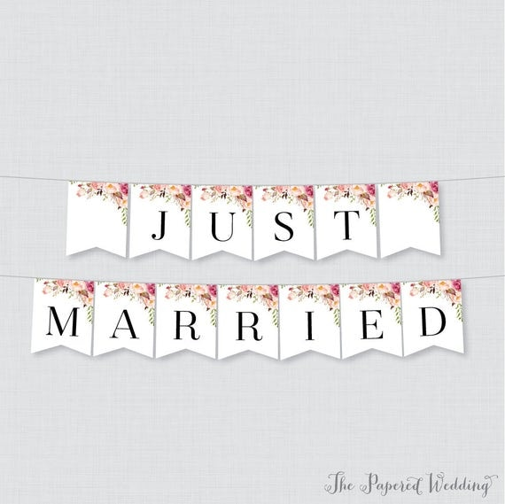 Printable Just Married Banner Pink Flower Just Married