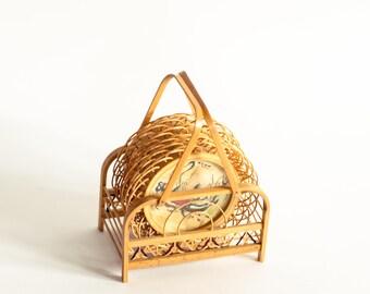 Rattan Coasters, Boho Coasters, Wicker Coasters, Bamboo Coasters, Oriental Coasters, Japanese Coaster Set, 70s Asian Coaster, Retro Coasters