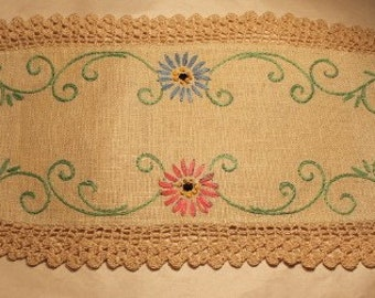 """Vintage Hand Embroidered Floral Doily 16X6.5"""""""