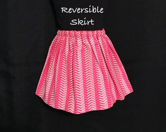 Toddler Girls Chevron Skirt; Chevron Reversible Skirt; Hot Pink Skirt; Toddlers Reversible Skirt; Girls Reversible Skirt; Toddler Skirt