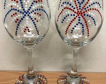 Hand painted patriotic firework wine glasses, set of 2; 4th of July wine glasses; Independence Day stemware; USA wine glasses