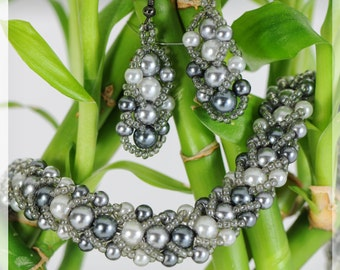 Beaded Necklace & Earring Set - Shades of Grey