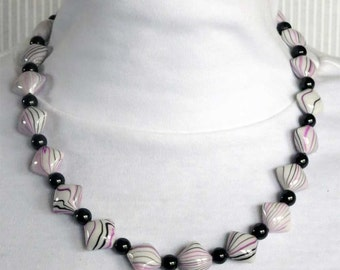 Purple and Black Beaded Necklace