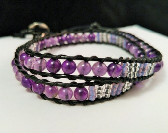 Amethyst Wrap Bracelet with Vintage Glass Beads