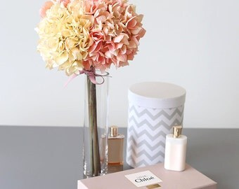 Artificial Hydrangea with Glass Flower Pot