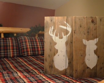 Beautiful Rustic Buck and Doe Deer Silhouette Signs, 100% Re Purposed Wood