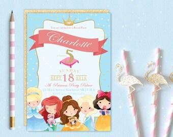 Princess Elsa Cinderella Ariel Belle inspired Birthday Party Invitation, Invite, Digital Download Printable Personalised Customised Girls