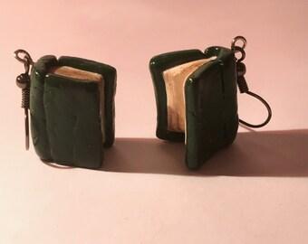 Books book earrings antique earrings