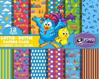 INSTANT DOWNLOAD|| Lottie Dottie- papers ||12x12 ||3600x3600l|12 papers|| Printable|| Seamless Patterns||
