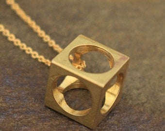 Cube Necklace Etsy