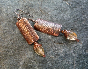 Long copper earrings, Artisan jewelry, Citrine earrings, Hammered copper jewelry, Gemstone jewelry, Metal jewelry, Textured copper