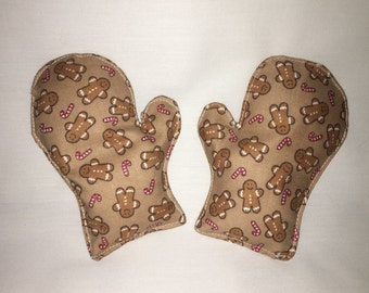 Reusable Mitten Rice Pack Hand Warmers: Gingerbread Men