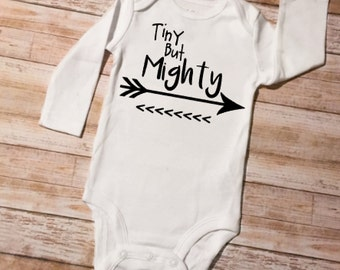 Arrow Baby Onesie, Tiny But Mighty Onesie, Baby Shower Gift, Baby Outfit