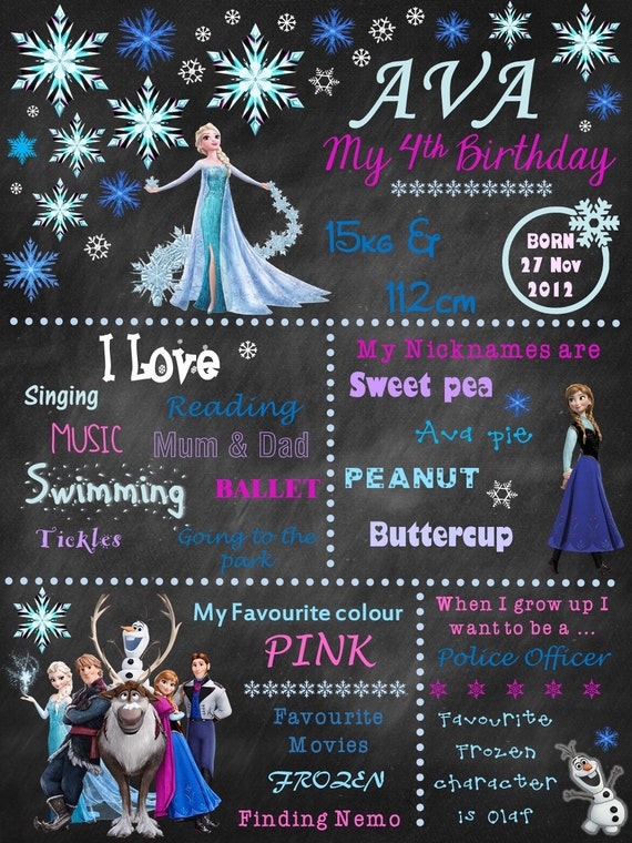 Frozen, 1st Birthday chalkboard, baby's, first birthday chalkboard, personalized, milestones, sign, printable, digital file