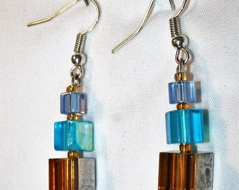 Blues and browns, glass bead earrings E134