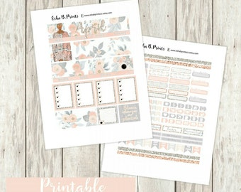 April Printable Planner Stickers (DARK)/Weekly Kit/Monthly Kit/For Use with Erin Condren/Fall September  Fashion Glitter Glam Floral