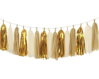 Ivory Metallic Gold Tissue Paper Tassels,Tassel Garland Banner for Wedding,Baby Shower,Event & Party Supplied,18 pcs DIY Kits,Ship From USA