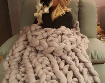 Chunky knit throw, soft Throw, sofa throws, bed throws. Giant knit throw, thick cable knit throw, Merino wool.  Chunky wrap.