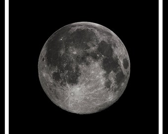 Full Moon Print, Photography, Black and White, Astronomy, Planets, Night Sky, Lunar, Moonlight, Moon Poster,