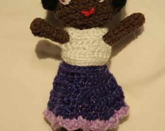 Little Amigurumi Doll with Brown Eyes