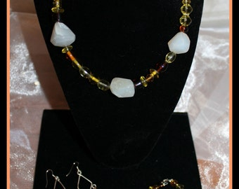 Earth Tone Beaded Necklace, Bracelet and Earring Set, Beaded Jewelry Set