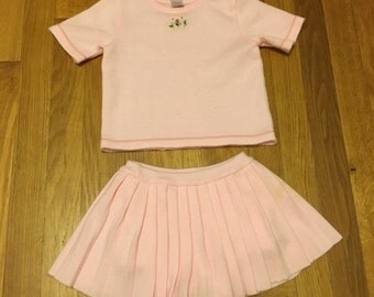 1980's light pink short sleeved sweater and skirt set - size 24 months / 2t / 3t