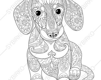 dachshund dog adult coloring book page zentangle doodle coloring pages for adults digital illustration instant download print