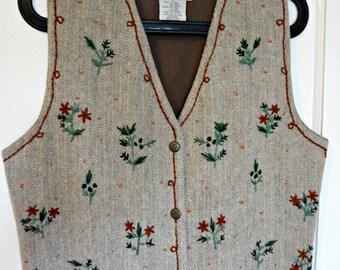 Vintage Floral Embroidered Wool Herringbone Vest