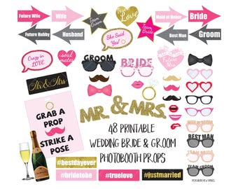 Wedding Photo Booth Props Bridal Shower Bachelorette Hen Engagement Party Digital Printable Photobooth Sign Bride Groom Mr Mrs Bride Groom