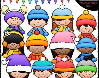 Winter Topper Kids Clip Art and B&W Set
