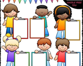 Colorful Clipboard Kids Clip Art and B&W Set