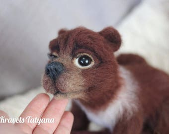 Needle felted Brown bear, Felted toy bear, Needle felted animal, Wool figurine bear, Teddy-bear, Soft sculpture bear, Toy hand made, felting