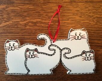4 Cat Family Ornament