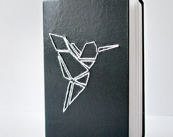 Art Supply: Embroidered Hardcover notebook /Origami Crane/ Modern /Hand embroidery/ Minimalist Sketchbook