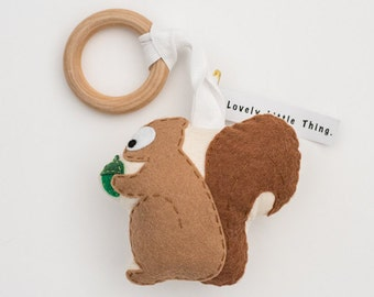 Handmade Squirrel rattle and play gym toy