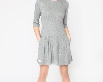 Drop waist jersey dress for women, Wool dress long sleeve, Wool jersey dress, Wool knit dress, Gray midi dress casual, Grey wool dress