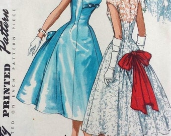 Vintage 1950's Sewing Pattern One-Piece Princess Line Evening Dress Bust 34""