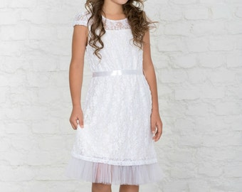 italian lace first communion dress junior bridesmaid dress mid calf white dress ivory