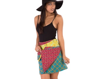 Reversible Cotton Skirt Red Orange Green Yellow Print with Detachable Pocket Medium Length