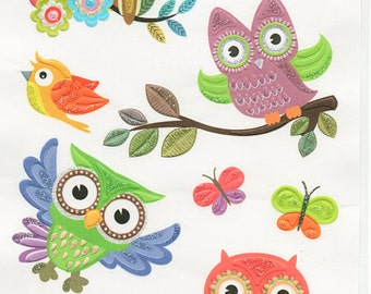 Owl Glitter Embossed Stickers Forever In Time Scrapbook Embellishments Cardmaking Crafts