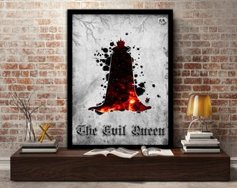 The Evil Queen, Poster, Print, Disney, Fairytale, Books, Snow White, Evil, Gift, Gift for her, Kids Room, Wall art, Witch, Villain
