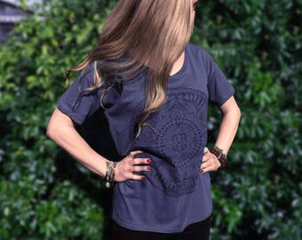 Women's Tencel Oversized T-Shirt - Lotus Flower Mandala design - Grey