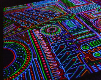 Navigator fluorescent psychedelic abstract original painting with unique style dots lines black light art trippy art
