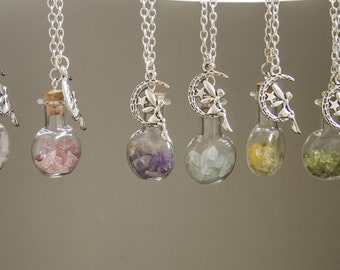 Raw Crystal Necklace Pixie Necklace Fairy Necklace Magical Terrarium Necklace Raw Crystal Pendant Druzy Birthstone Jewelry Personalized