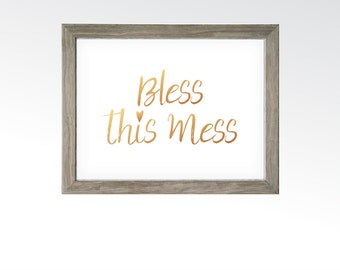 Bless This Mess Sign - Home Bedroom Decor - Sassy Funny Wall Art - Rose Gold Copper Calligraphy - Printable Digital Art - INSTANT DOWNLOAD