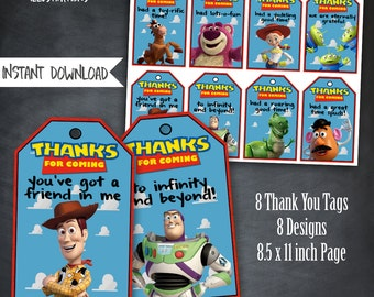 Toy Story Thank You Tags, Toy Story Birthday Favors, Toy Story Party, Toy Story Birthday Party, Woody Tags, Buzz Tags, Toy Story Printables