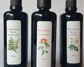 Frankincense Water, Rose Water, White Rose Water, Hydrosol sampler Organic Facial mist body spray Aftershave Tonic