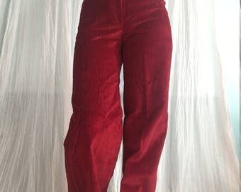 1970s Vintage Red Corduroy Pants