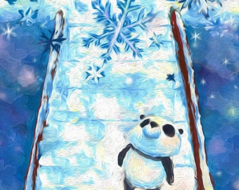 Panda & Winter | Illustration | Print | Postcard | by hasetill